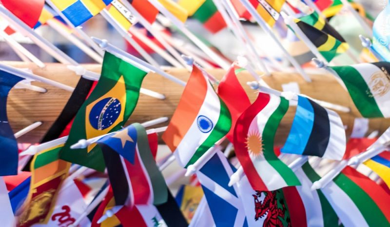 Country flags decorated on a staff