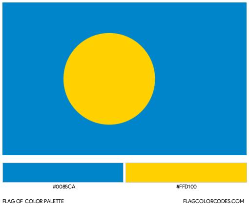 Palau Flag Color Palette