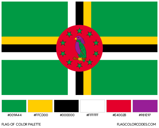 Dominica Flag Color Palette