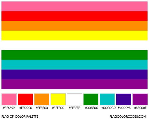Estêvão Romane's 9-Stripe Rainbow Pride Flag Color Palette