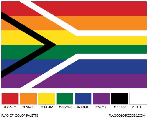 Gay Flag of South Africa Flag Color Palette