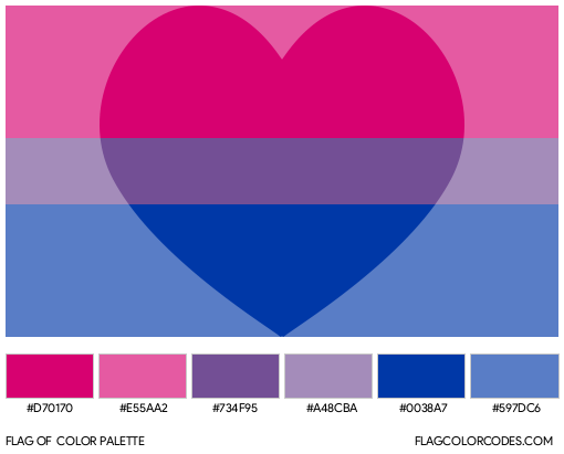 Biromantic (Heart) Flag Color Palette