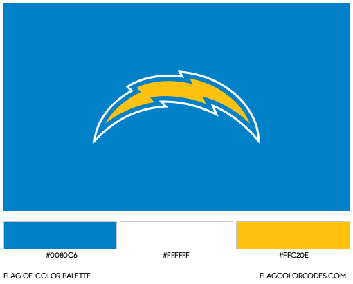 Los Angeles Chargers Flag Color Palette