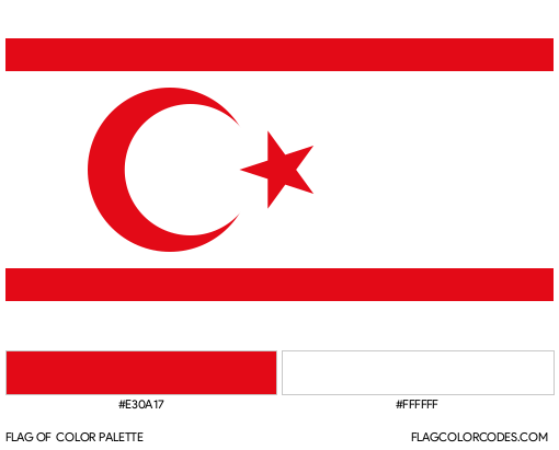 Turkish Republic of Northern Cyprus Flag Color Palette