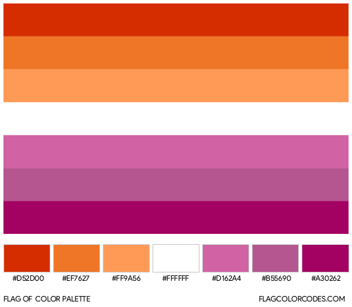Lesbian Pride Flag Color Palette