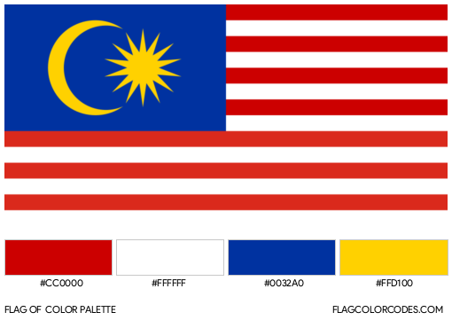 Malaysia Flag Color Palette