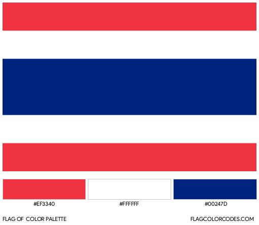 Thailand Flag Color Palette