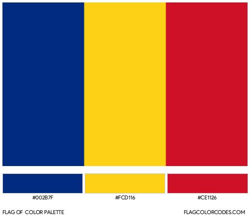Romania Flag Color Palette