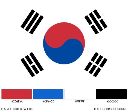 South Korea Flag Color Palette