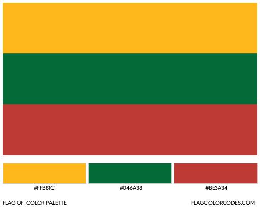 Lithuania Flag Color Palette