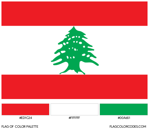 Lebanon Flag Color Palette