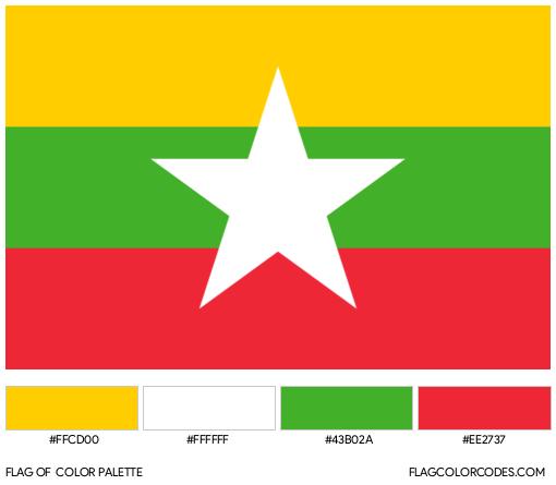 Myanmar Flag Color Palette
