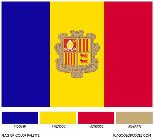 Andorra Flag Color Palette