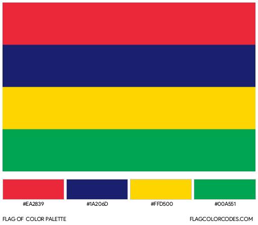 Mauritius Flag Color Palette