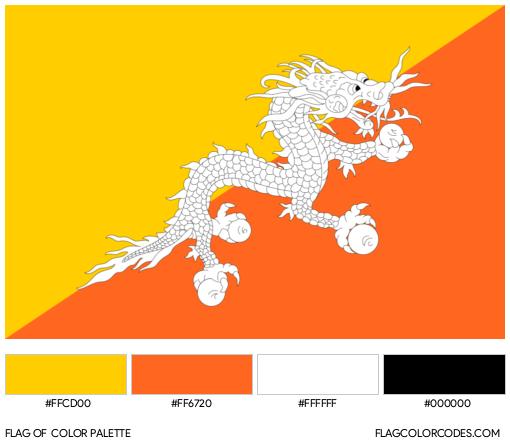 Bhutan Flag Color Palette